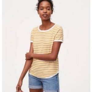 LOFT • Vintage Soft Yellow Striped Short Sleeve